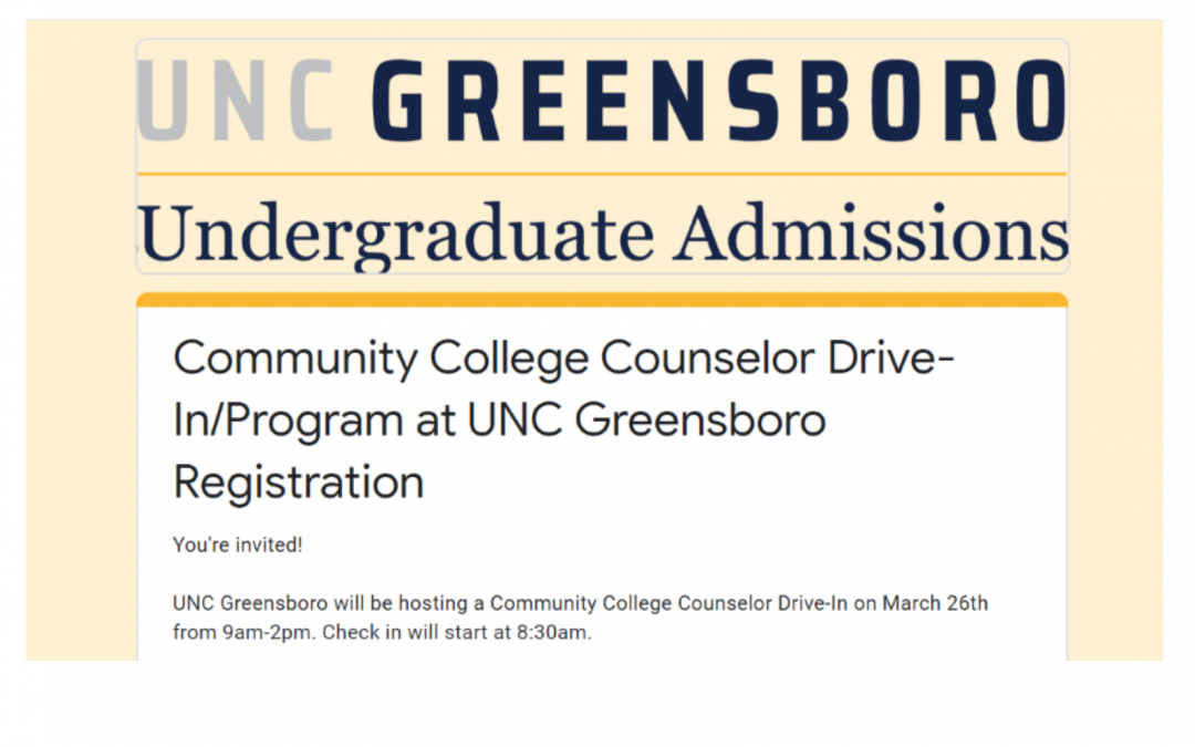 UNCG Community College Counselor Drive-In